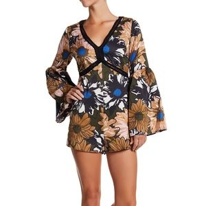 Lucca Couture Britt Bell Sleeve Floral Romper